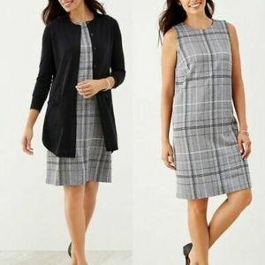 J Jill Ponte Knit Sleeveless Shift Dress Gray XL